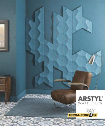 walltiles ray синего цвета - фото стеновых панелей